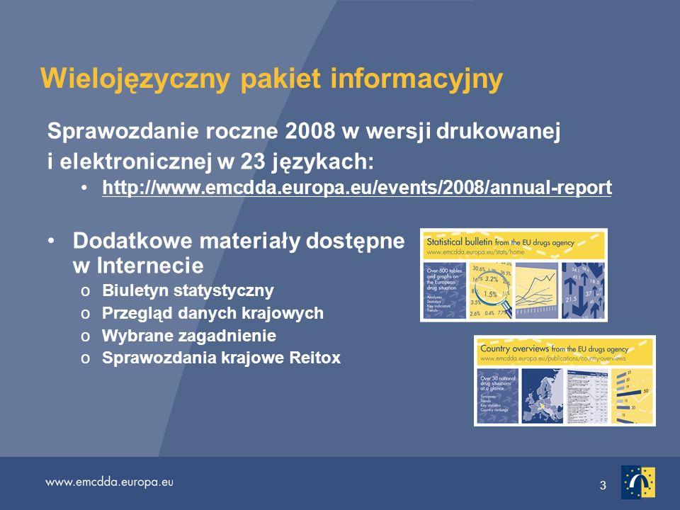 4 Przegląd sytuacji w 2008 r.: postępy Używanie narkotyków w Europie zaczyna się stabilizować Używanie amfetaminy i ecstasy: utrzymuje się na tym samym poziomie lub spada Konopie indyjskie: silniejsze sygnały spadku popularności Coraz większy dostęp do leczenia (chociaż nadal niewystarczający) Wspólne podejście: 26 państw członkowskich UE, Chorwacja, Turcja i Norwegia posiadają dokumenty z nakreślonymi planami działania w sprawie polityki antynarkotykowej na szczeblu krajowym