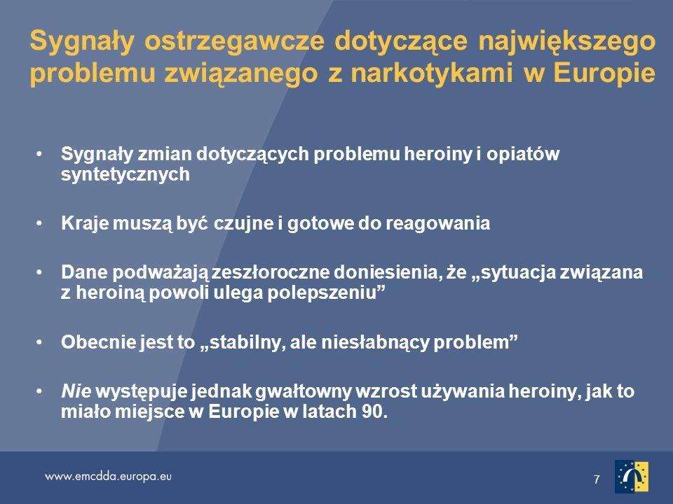 18 Wskaźnik przynajmniej jednokrotnego użycia narkotyków Około 12 millionów Europejczyków (15–64 lat) co najmniej raz próbowało kokainy 11 milionów amfetaminy 9,5 milliona ecstasy Używanie amfetamin i ecstasy wykazuje tendencję stabilną lub nawet spadkową Jednak stale zwiększa się używanie kokainy, aczkolwiek w niewielkiej liczbie krajów