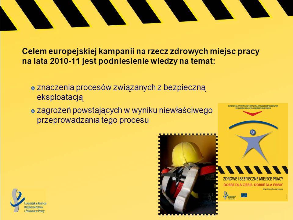 Celem europejskiej kampanii na rzecz zdrowych miejsc pracy na lata 2010-11 jest podniesienie wiedzy na temat: znaczenia procesów związanych z bezpiecz