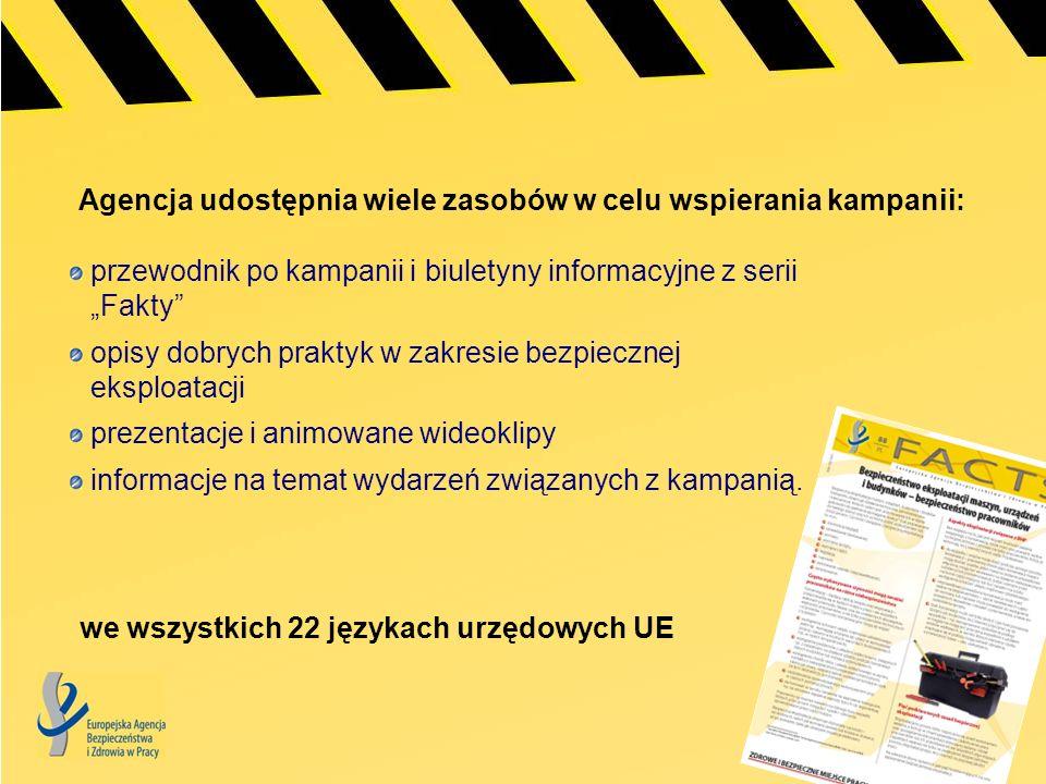 Agencja udostępnia wiele zasobów w celu wspierania kampanii: we wszystkich 22 językach urzędowych UE przewodnik po kampanii i biuletyny informacyjne z
