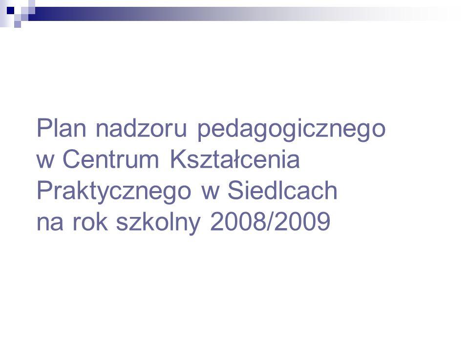 Plan nadzoru pedagogicznego w Centrum Kształcenia Praktycznego w Siedlcach na rok szkolny 2008/2009