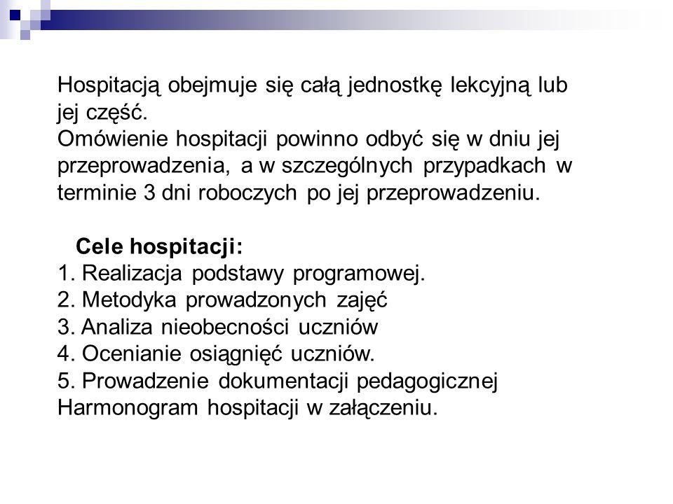 Hospitacją obejmuje się całą jednostkę lekcyjną lub jej część.