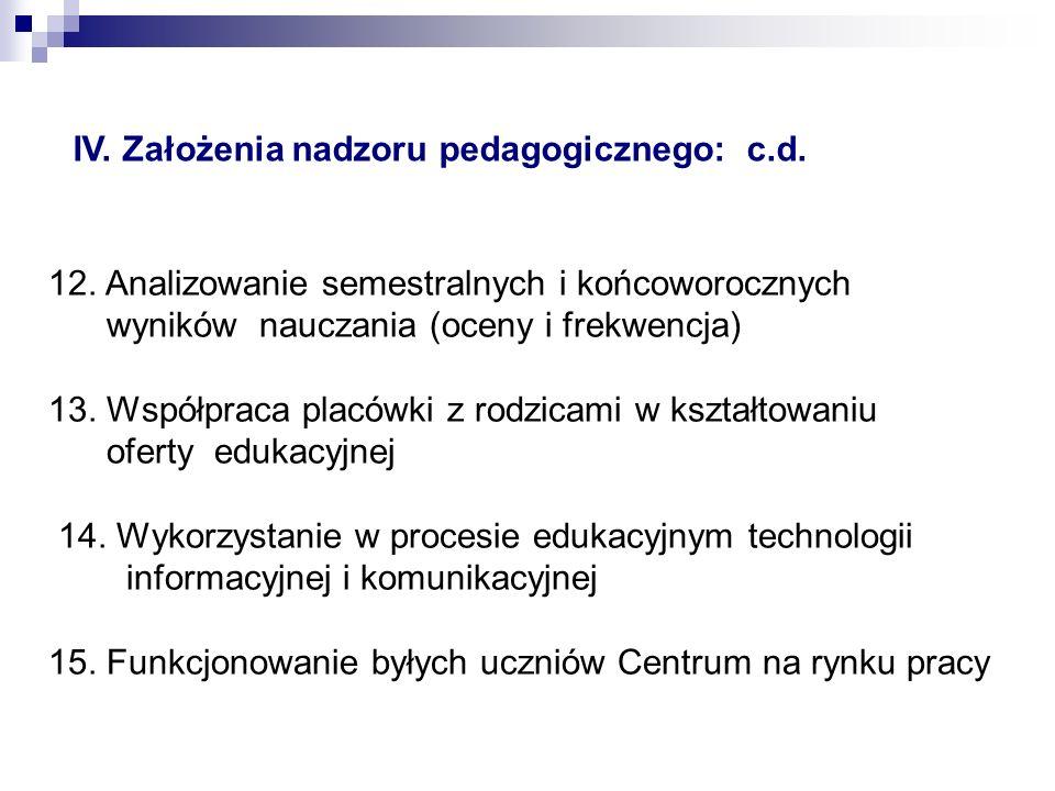 12.Analizowanie semestralnych i końcoworocznych wyników nauczania (oceny i frekwencja) 13.