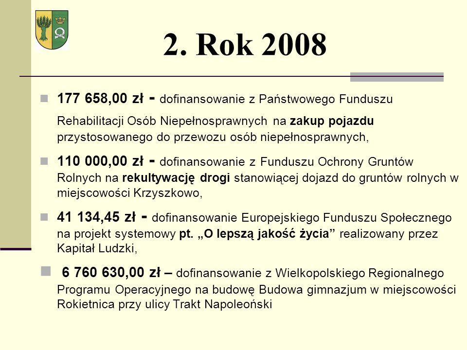 2. Rok 2008 177 658,00 zł - dofinansowanie z Państwowego Funduszu Rehabilitacji Osób Niepełnosprawnych na zakup pojazdu przystosowanego do przewozu os