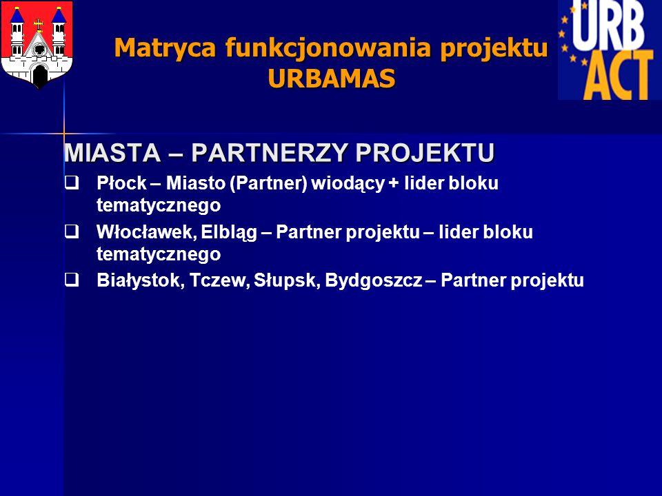 MIASTA – PARTNERZY PROJEKTU Płock – Miasto (Partner) wiodący + lider bloku tematycznego Włocławek, Elbląg – Partner projektu – lider bloku tematyczneg