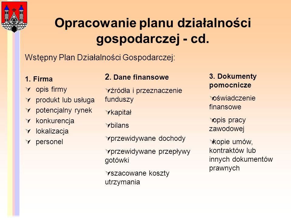 Opracowanie planu działalności gospodarczej - cd. Wstępny Plan Działalności Gospodarczej: 1. Firma opis firmy produkt lub usługa potencjalny rynek kon
