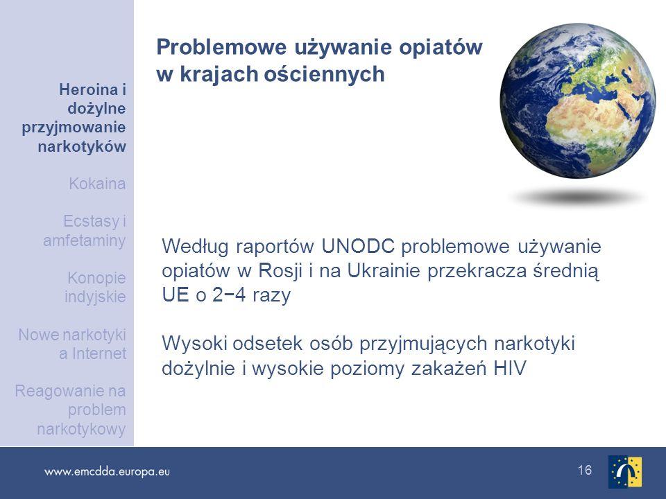 16 Według raportów UNODC problemowe używanie opiatów w Rosji i na Ukrainie przekracza średnią UE o 24 razy Wysoki odsetek osób przyjmujących narkotyki