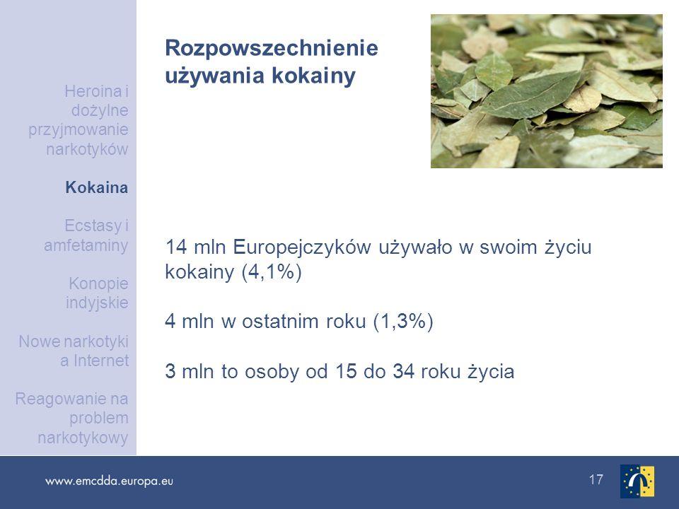17 14 mln Europejczyków używało w swoim życiu kokainy (4,1%) 4 mln w ostatnim roku (1,3%) 3 mln to osoby od 15 do 34 roku życia Rozpowszechnienie używ