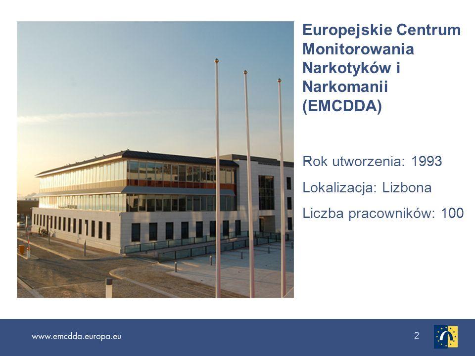 2 Europejskie Centrum Monitorowania Narkotyków i Narkomanii (EMCDDA) Rok utworzenia: 1993 Lokalizacja: Lizbona Liczba pracowników: 100
