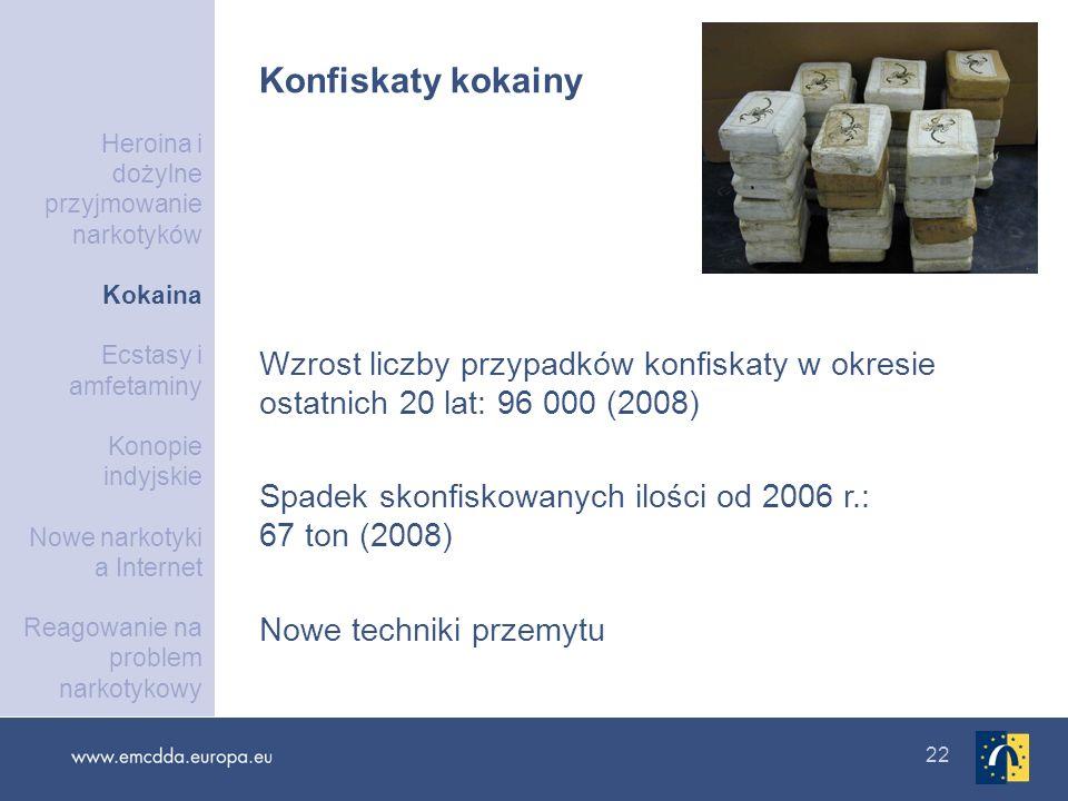 22 Wzrost liczby przypadków konfiskaty w okresie ostatnich 20 lat: 96 000 (2008) Spadek skonfiskowanych ilości od 2006 r.: 67 ton (2008) Nowe techniki