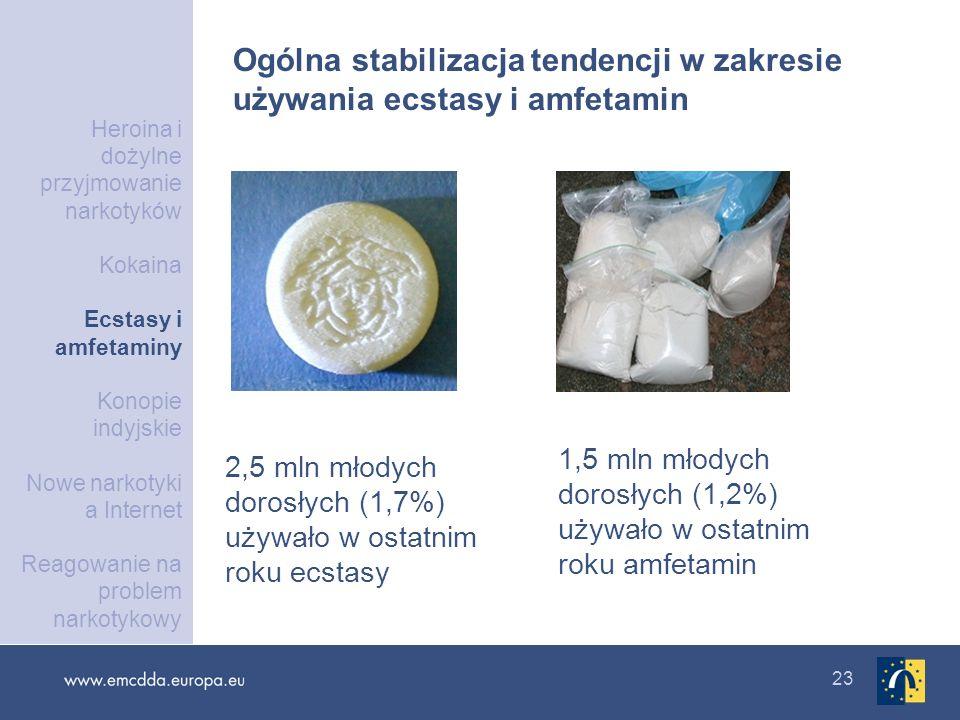 23 2,5 mln młodych dorosłych (1,7%) używało w ostatnim roku ecstasy 1,5 mln młodych dorosłych (1,2%) używało w ostatnim roku amfetamin Ogólna stabiliz