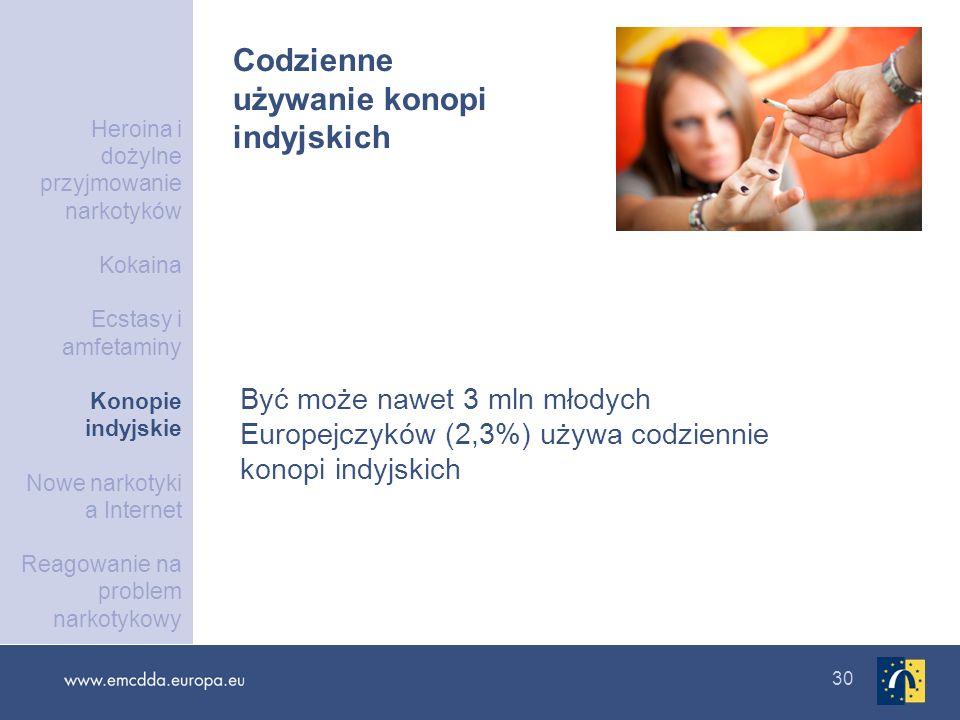 30 Codzienne używanie konopi indyjskich Być może nawet 3 mln młodych Europejczyków (2,3%) używa codziennie konopi indyjskich Heroina i dożylne przyjmo
