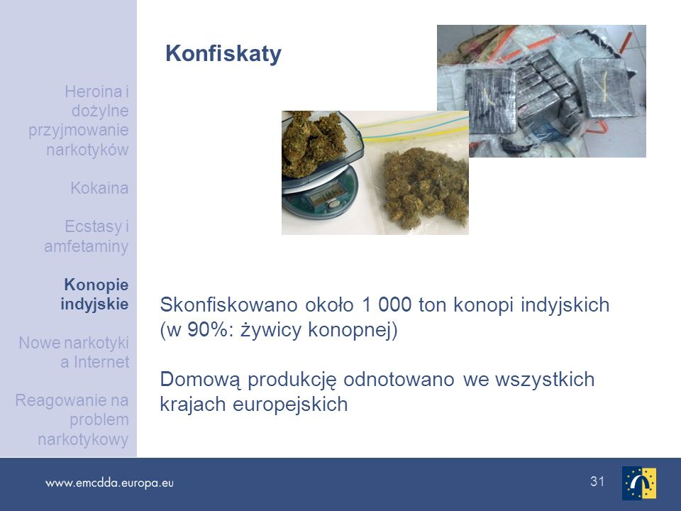 31 Konfiskaty Skonfiskowano około 1 000 ton konopi indyjskich (w 90%: żywicy konopnej) Domową produkcję odnotowano we wszystkich krajach europejskich
