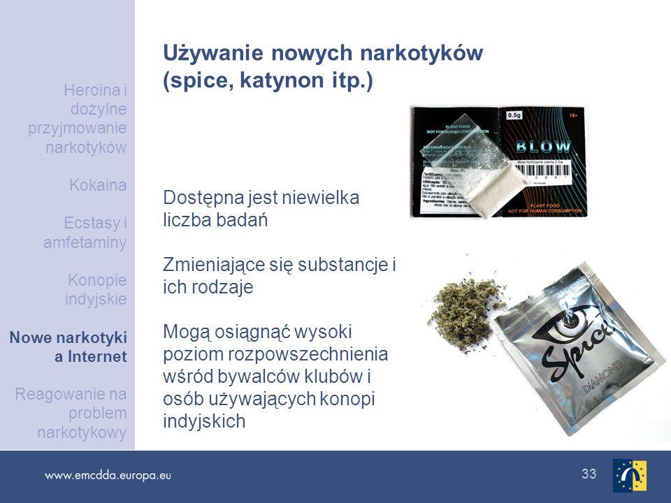 33 Używanie nowych narkotyków (spice, katynon itp.) Dostępna jest niewielka liczba badań Zmieniające się substancje i ich rodzaje Mogą osiągnąć wysoki