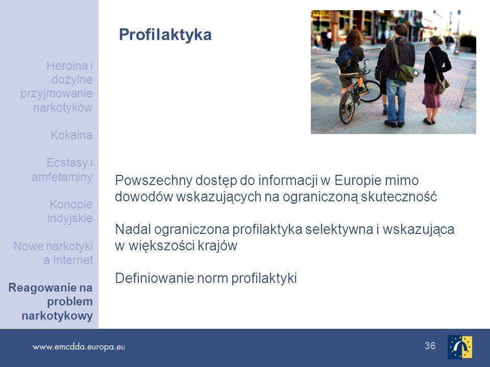 36 Profilaktyka Powszechny dostęp do informacji w Europie mimo dowodów wskazujących na ograniczoną skuteczność Nadal ograniczona profilaktyka selektyw