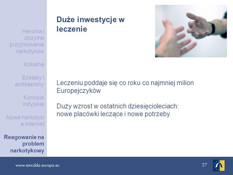 37 Duże inwestycje w leczenie Leczeniu poddaje się co roku co najmniej milion Europejczyków Duży wzrost w ostatnich dziesięcioleciach: nowe placówki l