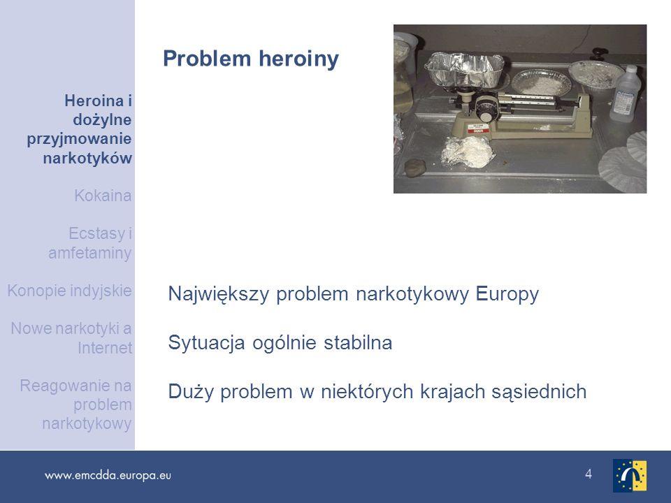 4 Największy problem narkotykowy Europy Sytuacja ogólnie stabilna Duży problem w niektórych krajach sąsiednich Problem heroiny Heroina i dożylne przyj