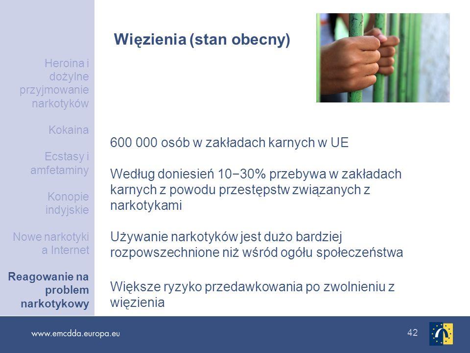42 Więzienia (stan obecny) 600 000 osób w zakładach karnych w UE Według doniesień 1030% przebywa w zakładach karnych z powodu przestępstw związanych z