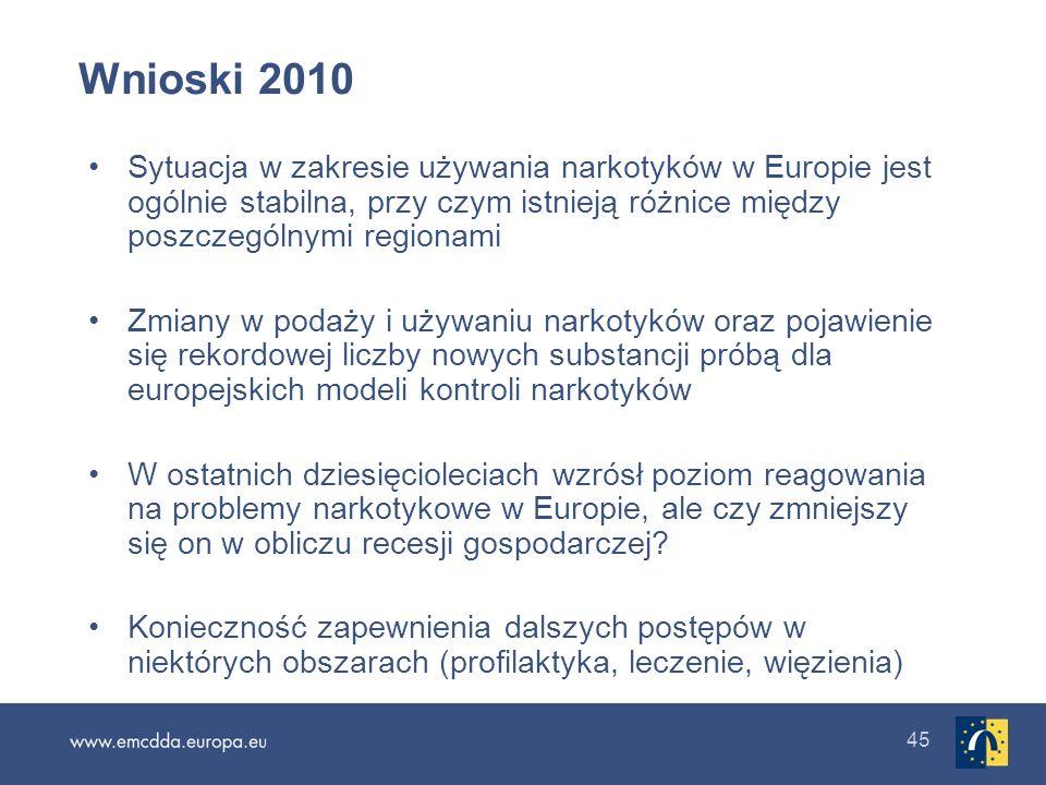 45 Wnioski 2010 Sytuacja w zakresie używania narkotyków w Europie jest ogólnie stabilna, przy czym istnieją różnice między poszczególnymi regionami Zm