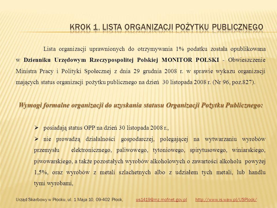 Lista organizacji uprawnionych do otrzymywania 1% podatku została opublikowana w Dzienniku Urzędowym Rzeczypospolitej Polskiej MONITOR POLSKI - Obwies
