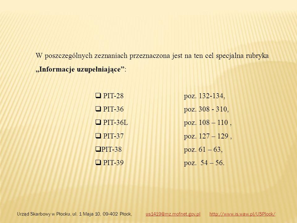 W poszczególnych zeznaniach przeznaczona jest na ten cel specjalna rubryka Informacje uzupełniające: PIT-28 poz. 132-134, PIT-36 poz. 308 - 310, PIT-3