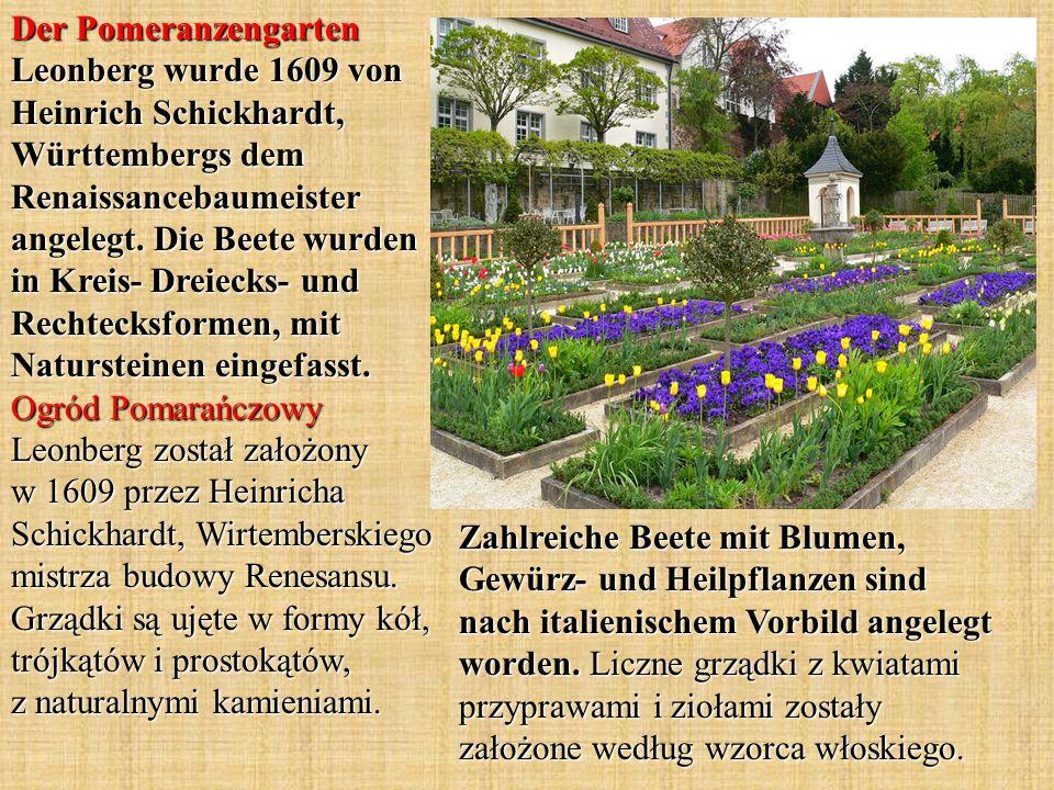 Zahlreiche Beete mit Blumen, Gewürz- und Heilpflanzen sind nach italienischem Vorbild angelegt worden. Liczne grządki z kwiatami przyprawami i ziołami