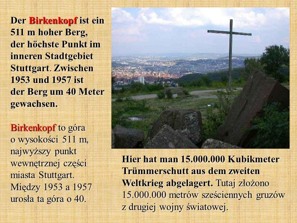 Hier hat man 15.000.000 Kubikmeter Trümmerschutt aus dem zweiten Weltkrieg abgelagert. Tutaj złożono 15.000.000 metrów sześciennych gruzów z drugiej w