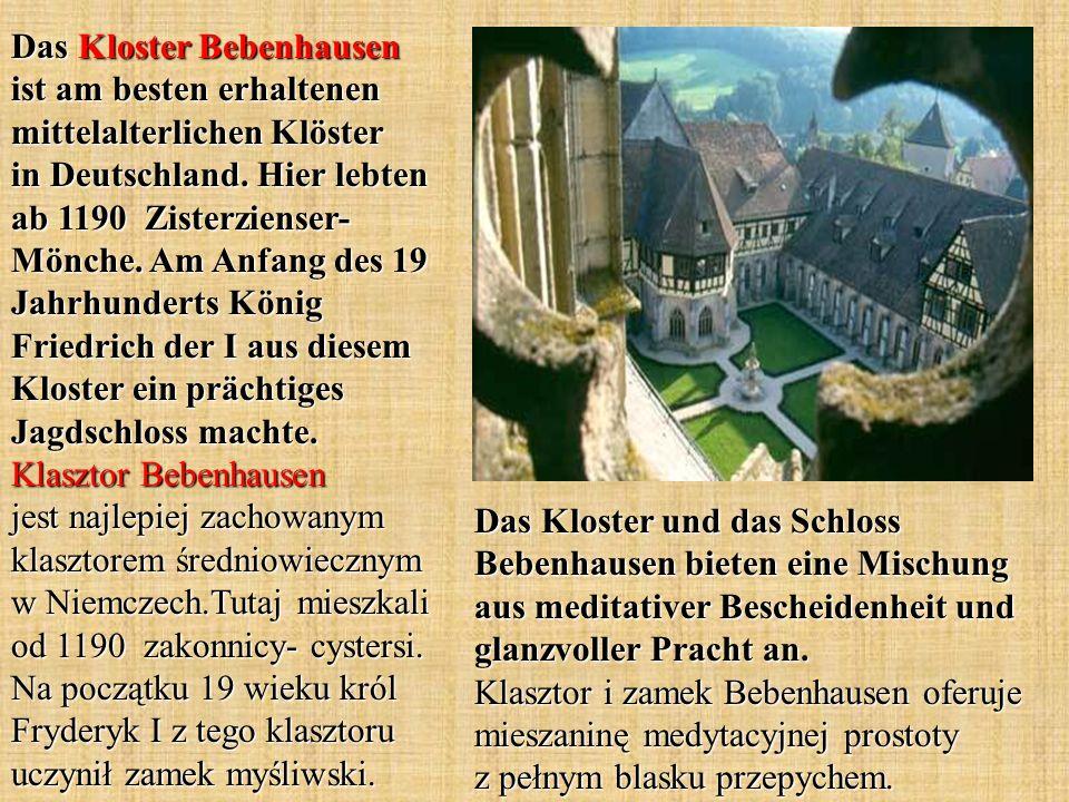 Das Kloster Bebenhausen ist am besten erhaltenen mittelalterlichen Klöster in Deutschland. Hier lebten ab 1190 Zisterzienser- Mönche. Am Anfang des 19