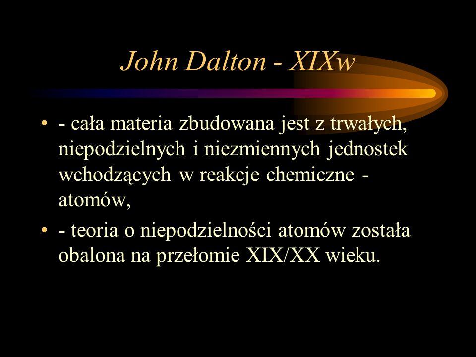 John Dalton - XIXw - cała materia zbudowana jest z trwałych, niepodzielnych i niezmiennych jednostek wchodzących w reakcje chemiczne - atomów, - teoria o niepodzielności atomów została obalona na przełomie XIX/XX wieku.