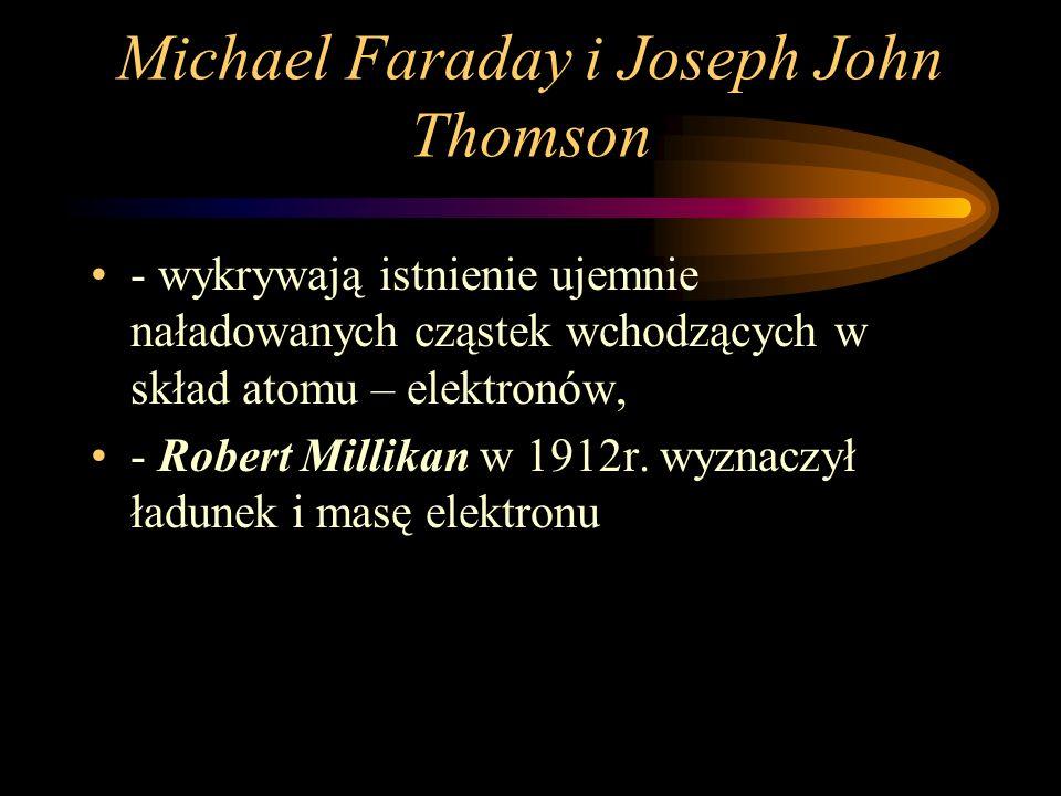 Michael Faraday i Joseph John Thomson - wykrywają istnienie ujemnie naładowanych cząstek wchodzących w skład atomu – elektronów, - Robert Millikan w 1912r.