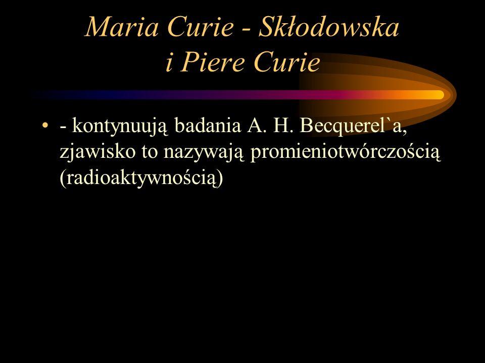 Maria Curie - Skłodowska i Piere Curie - kontynuują badania A.