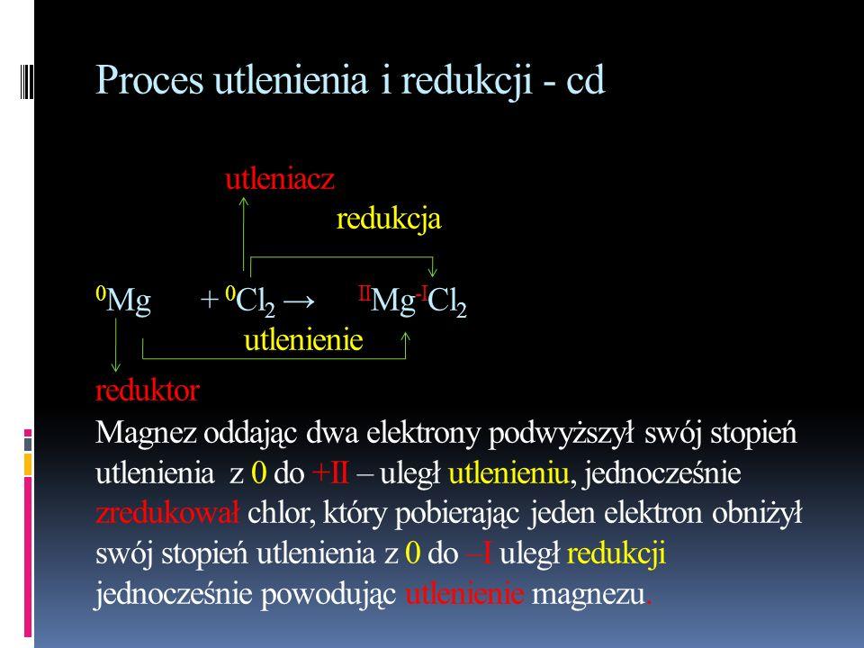 Proces utlenienia i redukcji - cd utleniacz redukcja 0 Mg + 0 Cl 2 II Mg -I Cl 2 utlenienie reduktor Magnez oddając dwa elektrony podwyższył swój stop