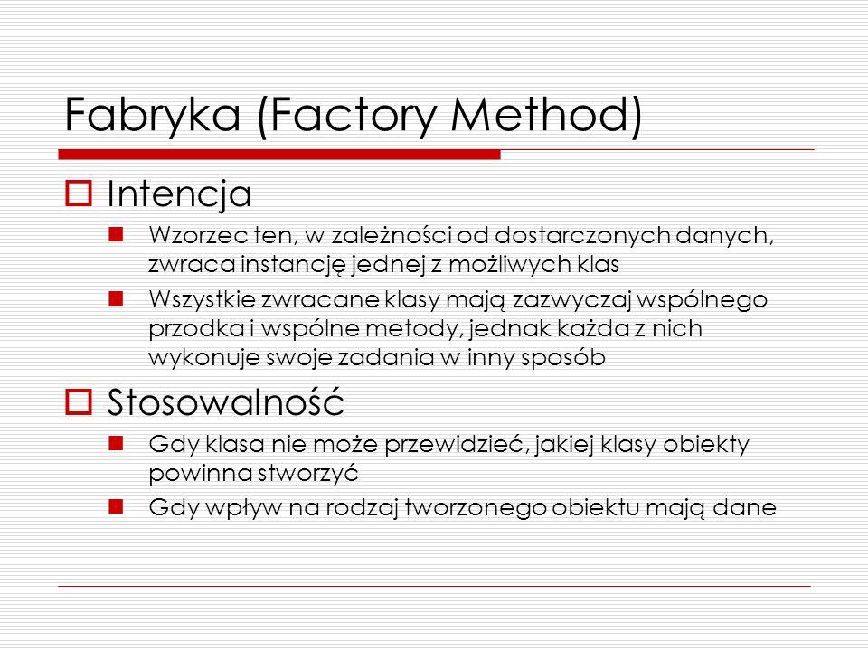 Fabryka (Factory Method) Intencja Wzorzec ten, w zależności od dostarczonych danych, zwraca instancję jednej z możliwych klas Wszystkie zwracane klasy