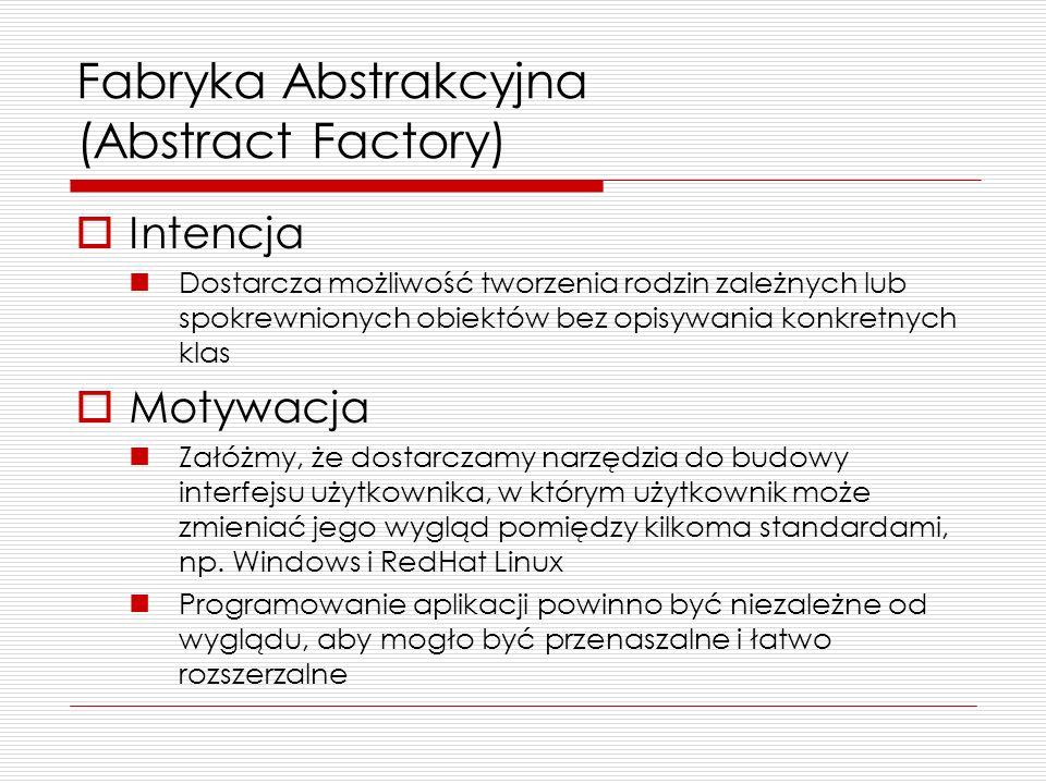 Fabryka Abstrakcyjna (Abstract Factory) Intencja Dostarcza możliwość tworzenia rodzin zależnych lub spokrewnionych obiektów bez opisywania konkretnych