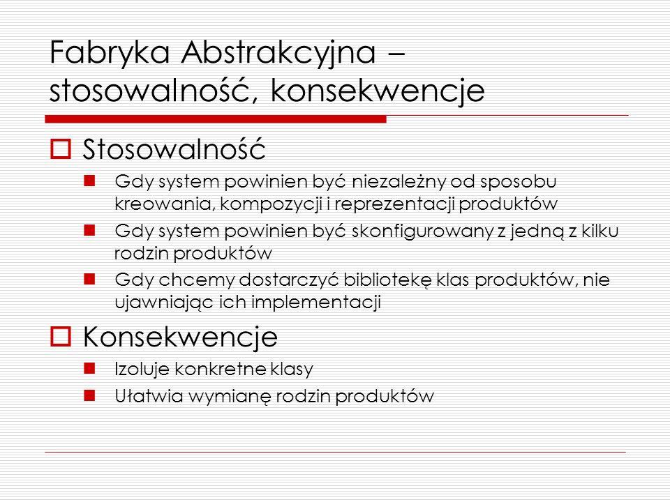 Fabryka Abstrakcyjna – stosowalność, konsekwencje Stosowalność Gdy system powinien być niezależny od sposobu kreowania, kompozycji i reprezentacji pro