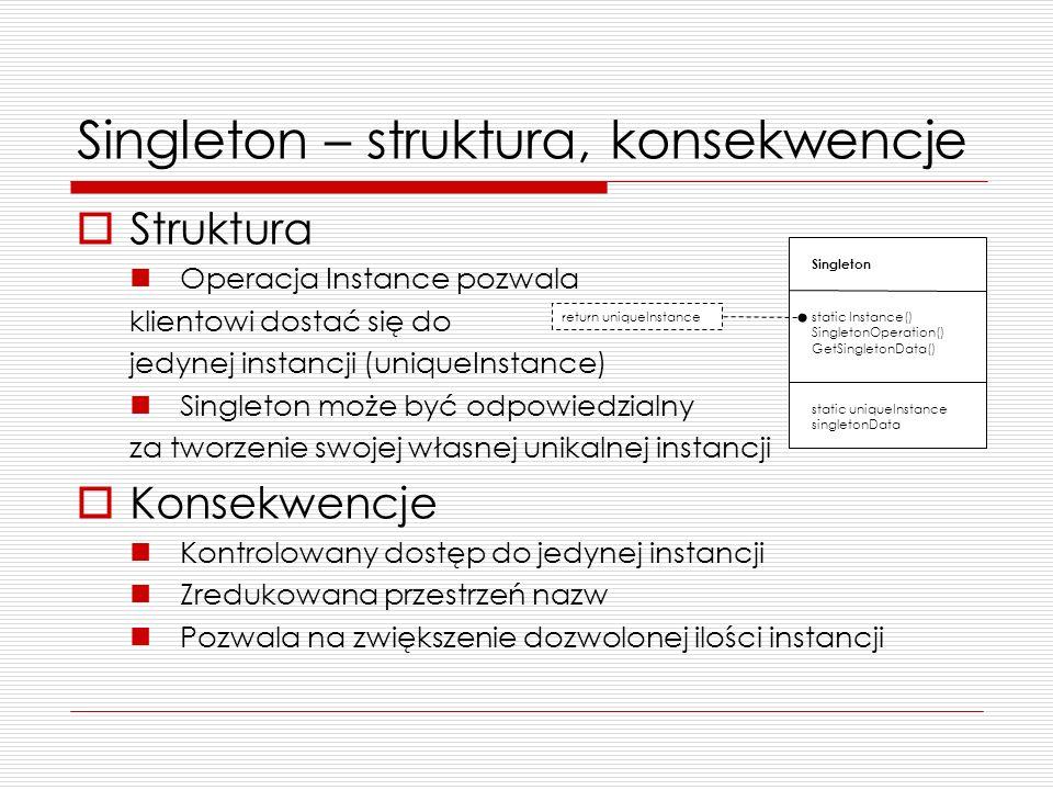 Singleton – struktura, konsekwencje Struktura Operacja Instance pozwala klientowi dostać się do jedynej instancji (uniqueInstance) Singleton może być