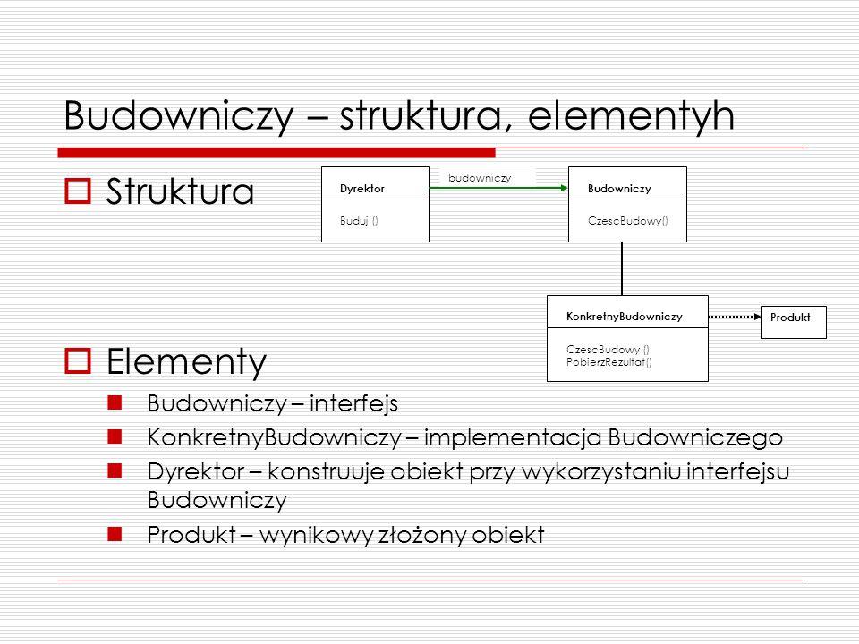 Budowniczy – struktura, elementyh Struktura Elementy Budowniczy – interfejs KonkretnyBudowniczy – implementacja Budowniczego Dyrektor – konstruuje obi
