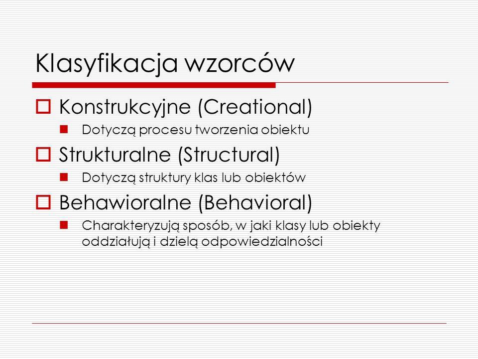 Fabryka Abstrakcyjna – przykładowy kod public abstract class Okno { /*...*/ } public abstract class Suwak{ /*...*/ } public abstract class SystemOkien { public abstract Okno utworzOkno(); public abstract Suwak utworzSuwak(); } public class WindowsOkno extends Okno { /*def Okna w systemie Windows*/ } public class WindowsSuwak extends Suwak { /*def Suwaka w systemie Windows*/ } public class WindowsSystem extends SystemOkien { public Okno utworzOkno() { return new WindowsOkno(); } public Suwak utworzSuwak() { return new WindowsSuwak(); } public class RedHatOkno extends Okno { /*def Okna w systemie RedHat*/ } public class RedHatSuwak extends Suwak { /*def Suwaka w systemie RedHat*/ } public class RedHatSystem extends SystemOkien {/*analogicznie do WindowsOkna*/}