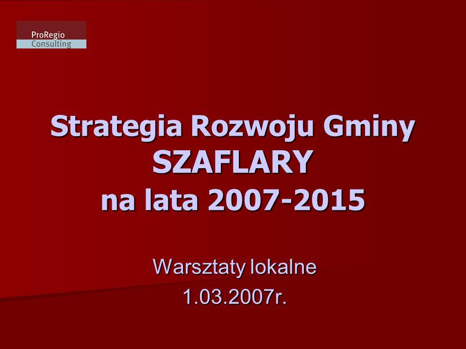 Strategia Rozwoju Gminy SZAFLARY na lata 2007-2015 Warsztaty lokalne 1.03.2007r.