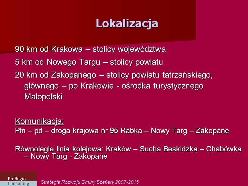 Strategia Rozwoju Gminy Szaflary 2007-2015 Lokalizacja 90 km od Krakowa – stolicy województwa 5 km od Nowego Targu – stolicy powiatu 20 km od Zakopane