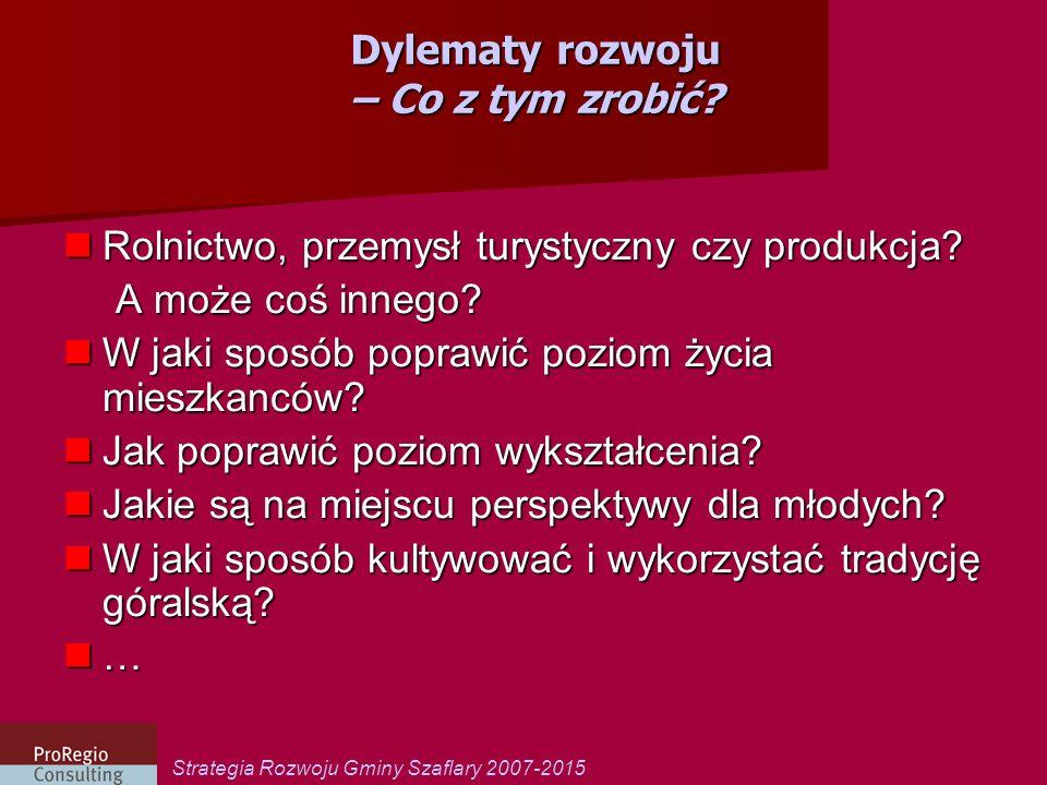 Strategia Rozwoju Gminy Szaflary 2007-2015 Dylematy rozwoju – punkt wyjścia Jaka jest Gmina Szaflary jako: -miejsce życia i zamieszkania.