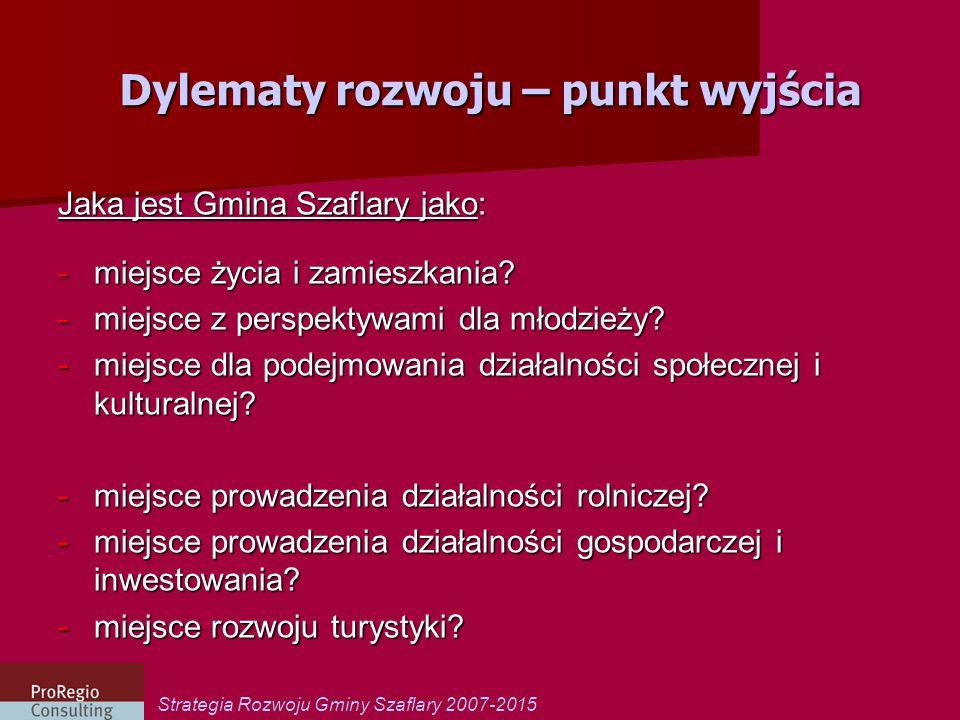 Strategia Rozwoju Gminy Szaflary 2007-2015 Dylematy rozwoju – punkt wyjścia Jaka jest Gmina Szaflary jako: -miejsce życia i zamieszkania? -miejsce z p
