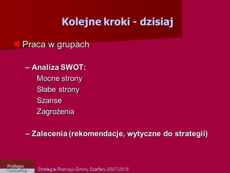 Strategia Rozwoju Gminy Szaflary 2007-2015 Kolejne kroki - dzisiaj Praca w grupach Praca w grupach – Analiza SWOT: Mocne strony Słabe strony SzanseZag