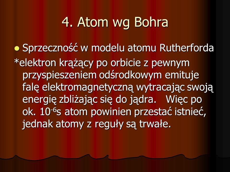 4. Atom wg Bohra Sprzeczność w modelu atomu Rutherforda Sprzeczność w modelu atomu Rutherforda *elektron krążący po orbicie z pewnym przyspieszeniem o