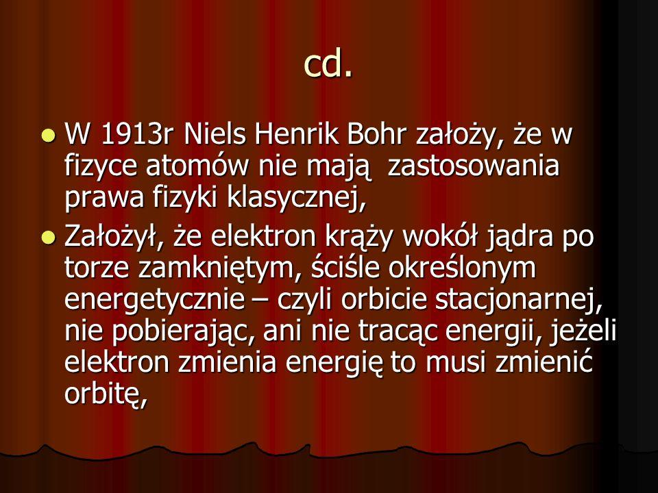 cd. W 1913r Niels Henrik Bohr założy, że w fizyce atomów nie mają zastosowania prawa fizyki klasycznej, W 1913r Niels Henrik Bohr założy, że w fizyce