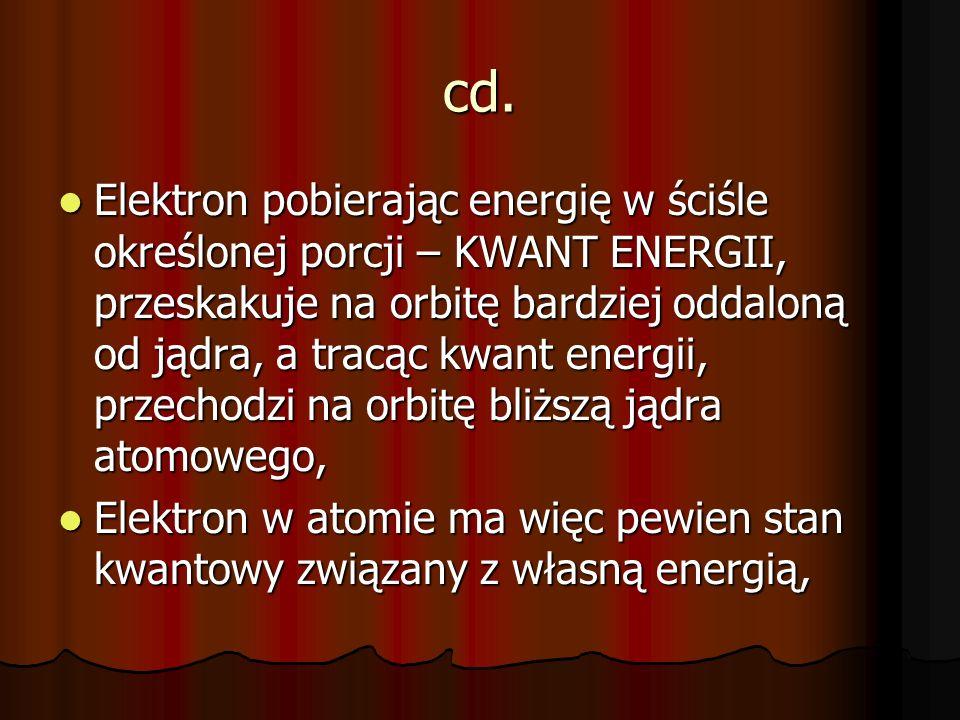 cd. Elektron pobierając energię w ściśle określonej porcji – KWANT ENERGII, przeskakuje na orbitę bardziej oddaloną od jądra, a tracąc kwant energii,