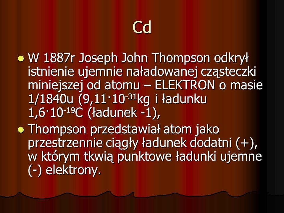 Cd W 1887r Joseph John Thompson odkrył istnienie ujemnie naładowanej cząsteczki miniejszej od atomu – ELEKTRON o masie 1/1840u (9,11·10 -31 kg i ładun