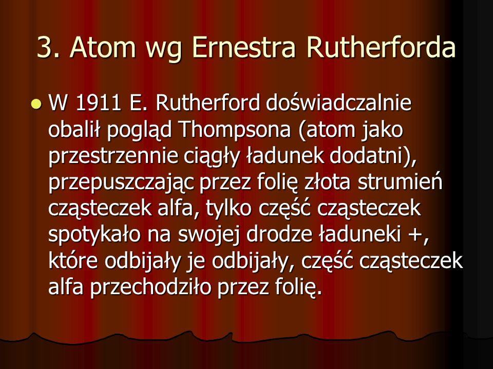 3. Atom wg Ernestra Rutherforda W 1911 E. Rutherford doświadczalnie obalił pogląd Thompsona (atom jako przestrzennie ciągły ładunek dodatni), przepusz