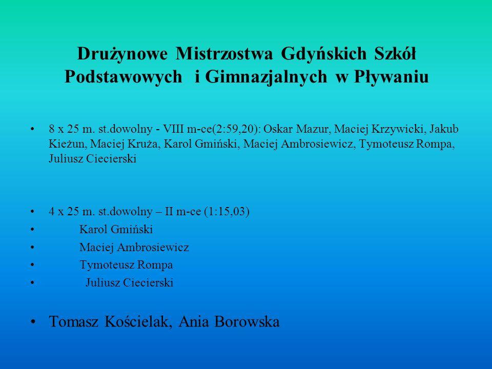 Drużynowe Mistrzostwa Gdyńskich Szkół Podstawowych i Gimnazjalnych w Pływaniu 8 x 25 m.