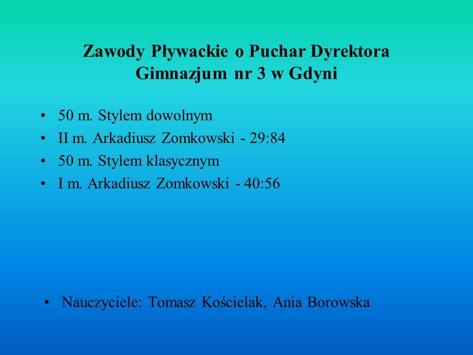 Zawody Pływackie o Puchar Dyrektora Gimnazjum nr 3 w Gdyni 50 m.